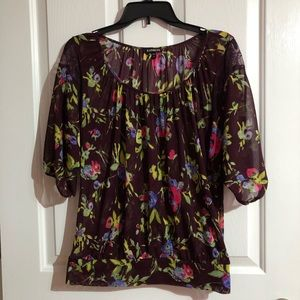 Burgundy floral sheer blouse by express Medium